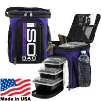 Isolator Fitness 3 Meal ISOCUBE Meal Prep Management Insulated Lunch Bag Cooler with 6 Stackable Meal Prep Containers, 2 ISOBRICKS, and Shoulder Strap - MADE IN USA (Purple)