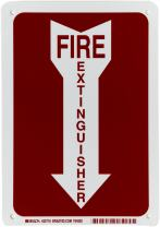 """Brady 25718 10"""" Height, 7"""" Width, B-401 Plastic Red On White Color Fire Sign, Legend """"Fire Extinguisher (With Picto)"""""""