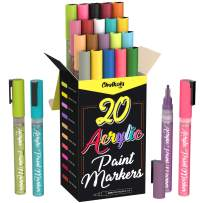 Acrylic Paint Pens for Rock Painting, Stone, Ceramic, Glass, Wood, Canvas - Set of 20 colors, Fine Tip Water based Paint Markers