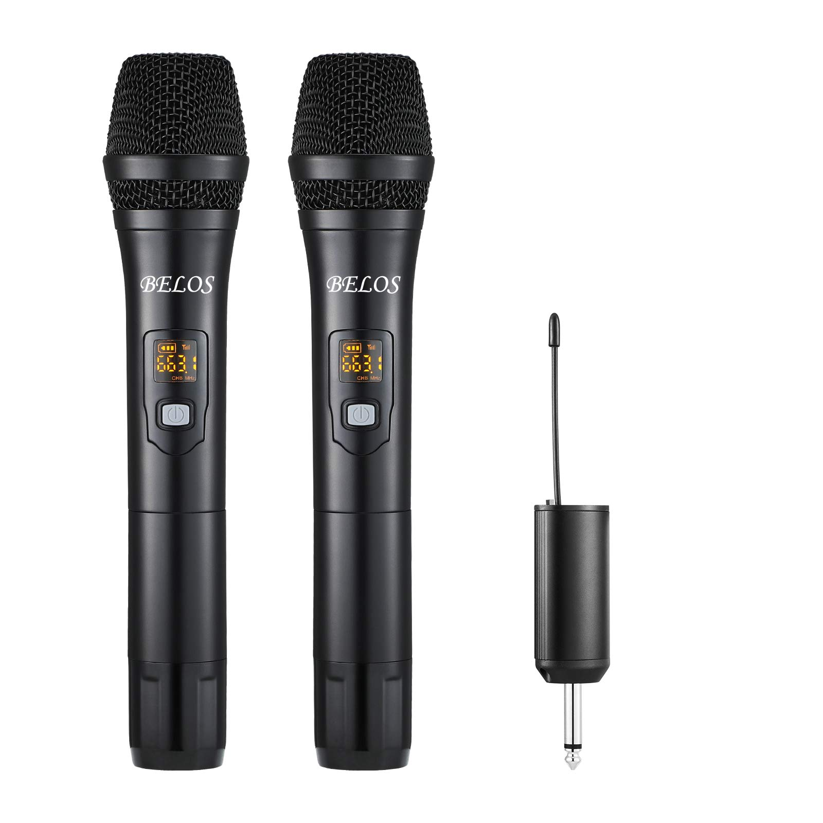 BELOS Wireless Microphone, UHF Cordless Dual Handheld Dynamic Mic System Set with Rechargeable Receiver, 165 ft Range, 6.35mm(1/4'') Plug, for Karaoke, Voice Amplifier, PA System, Singing Machine, DJ