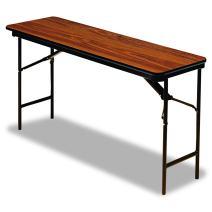 "Iceberg ICE55285 Premium Wood Laminate Folding Table with Brown Steel Legs, 18"" Length x 72"" Width x 29"" Height, Oak"