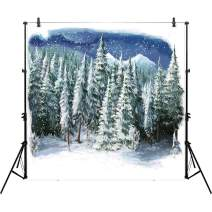 Allenjoy 10x10ft Winter Landscape Backdrop for Studio Photography (With Pocket) Christmas Forest Wonderland Snowflake Scene Holiday Background Newborn Party Decor Children Portrait Photo Prop Supplies