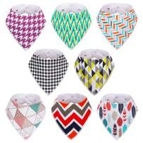 Baby Girl Bibs, 8-Pack Kirecoo Bandana Drool Bibs Baby Girl Bibs for Drooling and Teething, 100% Organic Cotton and Super Absorbent Drool Hypoallergenic Bibs, Baby Shower Gift