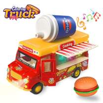 ZHENDUO Pull Back Cars, Food Truck Vehicle Toy Car with Music & Light, 1:36 Fast Food Car Toy Openable Doors & Awning, Ice Cream Toy Cart, Alloy Toy Trucks Friction Car Toys Gifts for Boys Girls