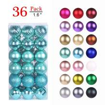 """GameXcel Christmas Balls Ornaments for Xmas Tree - Shatterproof Christmas Tree Decorations Large Hanging Ball Teal 1.6"""" x 36 Pack"""
