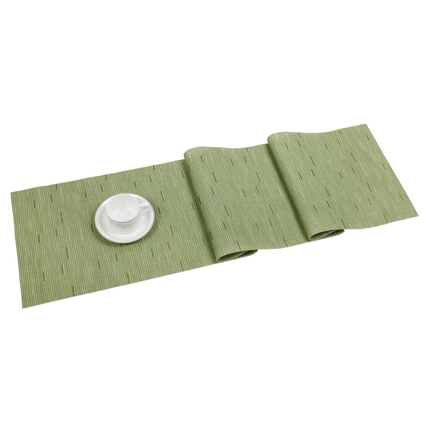 SHACOS Woven Vinyl Table Runner for Kitchen Dining Table Wipe Clean Washable PVC Table Runner (Olive Green, 12x54 inch)