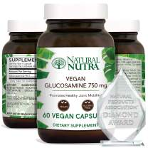 Natural Nutra Vegan and Vegetarian Glucosamine Hydrochloride, Kosher, Shellfish Free, Plant Based, Collagen, Joint and Cartilage Support Supplement, 750mg, 60 Capsules