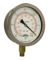 """Winters PFQ Series Stainless Steel 304 Single Scale Liquid Filled Pressure Gauge with Brass Internals, 30"""" Hg Vacuum-0-100 psi, 2-1/2"""" Dial Display, +/-1.5% Accuracy, 1/4"""" NPT Bottom Mount"""