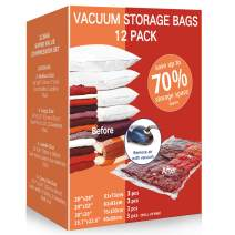 VacPack Space Saver Bags, 12 Pack Variety Vacuum Storage Bags with One Free Hand Pump for Home and Travel (12C)