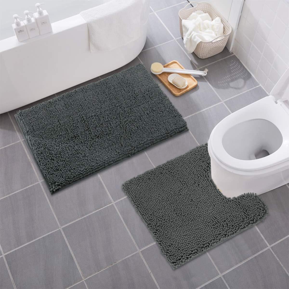 MAYSHINE Bathroom Rug Toilet Sets and Shaggy Non Slip Machine Washable Soft Microfiber Bath Contour Mat (Dark Gray, 32x20 / 20x20 Inches U-Shaped)