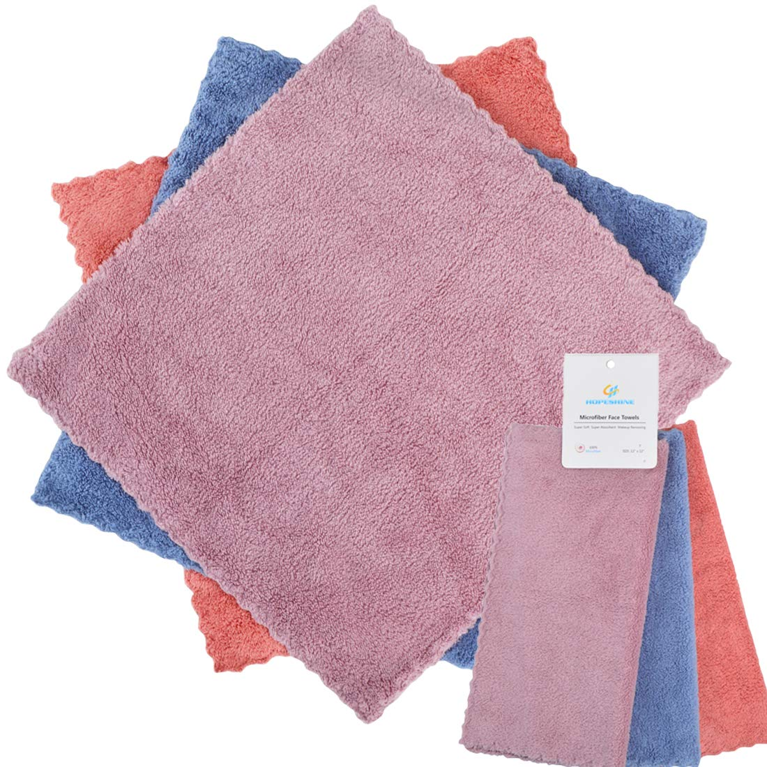 HOPESHINE Face Makeup Remover Cloths Reusable Microfiber Wash Cloth for Face Towels Facial Cleaning Wipes Soft for Sensitive Skin (3-Pack 12'' x 12'')