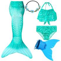 Wfundeals Mermaid Tails for Swimming with Monofin Swimsuit Costume Cosplay, Princess Bikini Set
