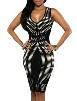 YiYaYo Womens Sleeveless Stripe Print Slim Fit Package Hip Bodycon Dress
