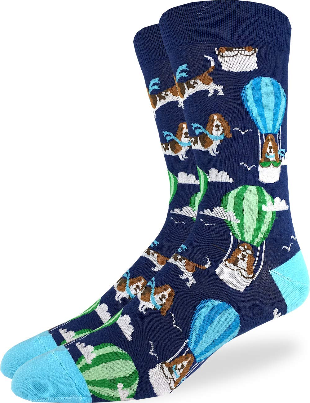 Good Luck Sock Men's Basset Hound in Air Balloon Socks - Blue Shoe Size 7-12