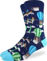 Good Luck Sock Men's Basset Hound in Air Balloon Socks - Blue Shoe Size 7-12