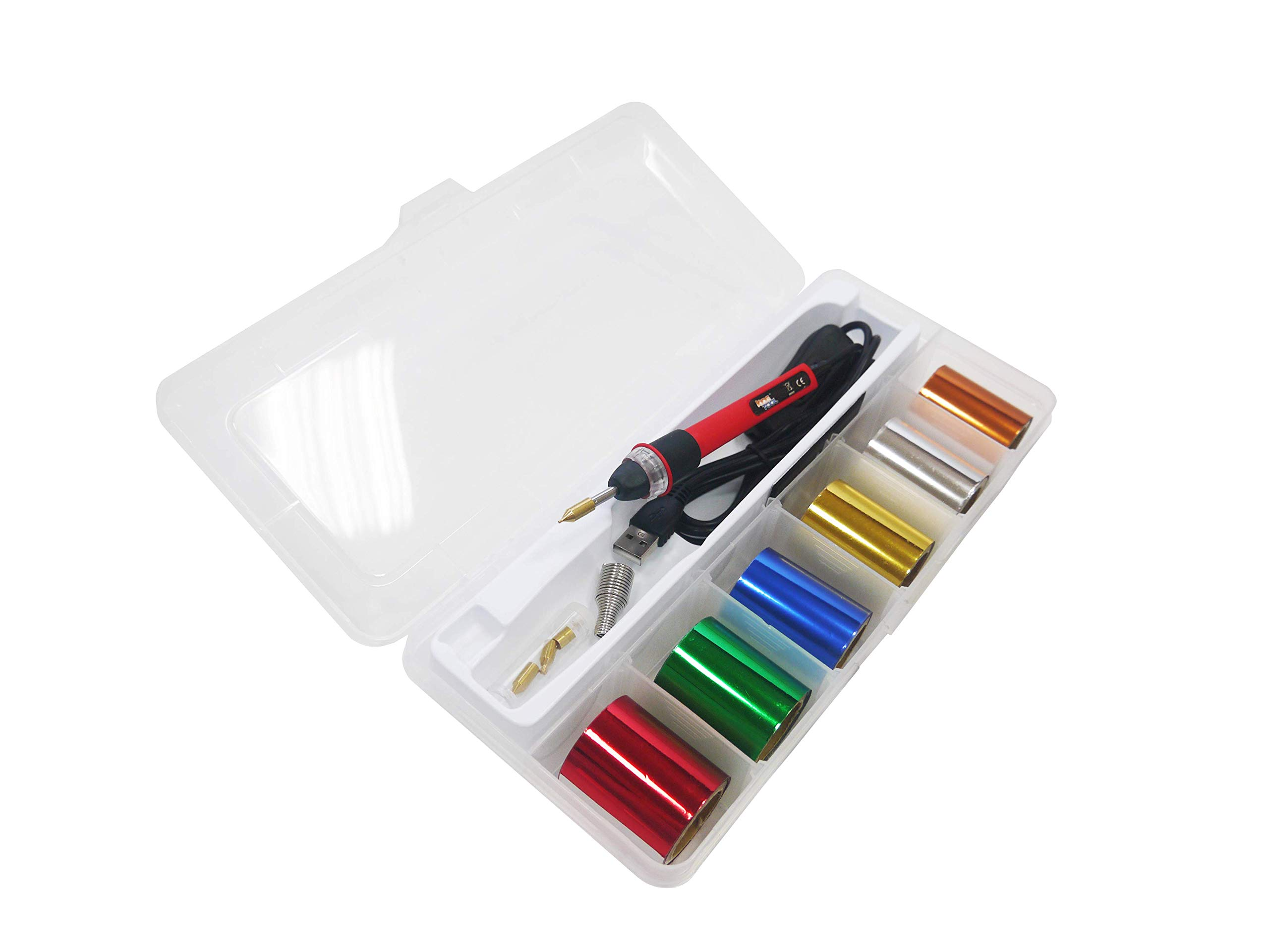 KINGTOOL Hot Foil Stamping Tool Hot Quill Pen Embossing Pen Hot Foil Pen, USB Powered (with 4 Nibs) (Red)