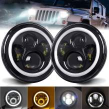 DVISUV 7inch Led Headlights Halo - 2PCS Round Headlight with DRL High/Low Beam - LED Headlamp Offroad Light Angle Eyes Compatible with Jeep Wrangler JK TJ LJ Motorcycle(H4 H13 Adapter Included)