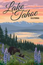 Lake Tahoe - Bear and Cubs with Flowers 80979 (12x18 SIGNED Print Master Art Print - Wall Decor Poster)