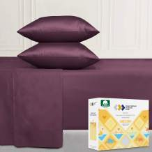 400-Thread-Count King Cotton Sheet Set - Soft Plum Fade Resistant Sheets, Soft Sateen Weave 4 Piece Bedding Set - Elasticized Deep Pocket Fits Low Profile Foam and Tall Mattresses