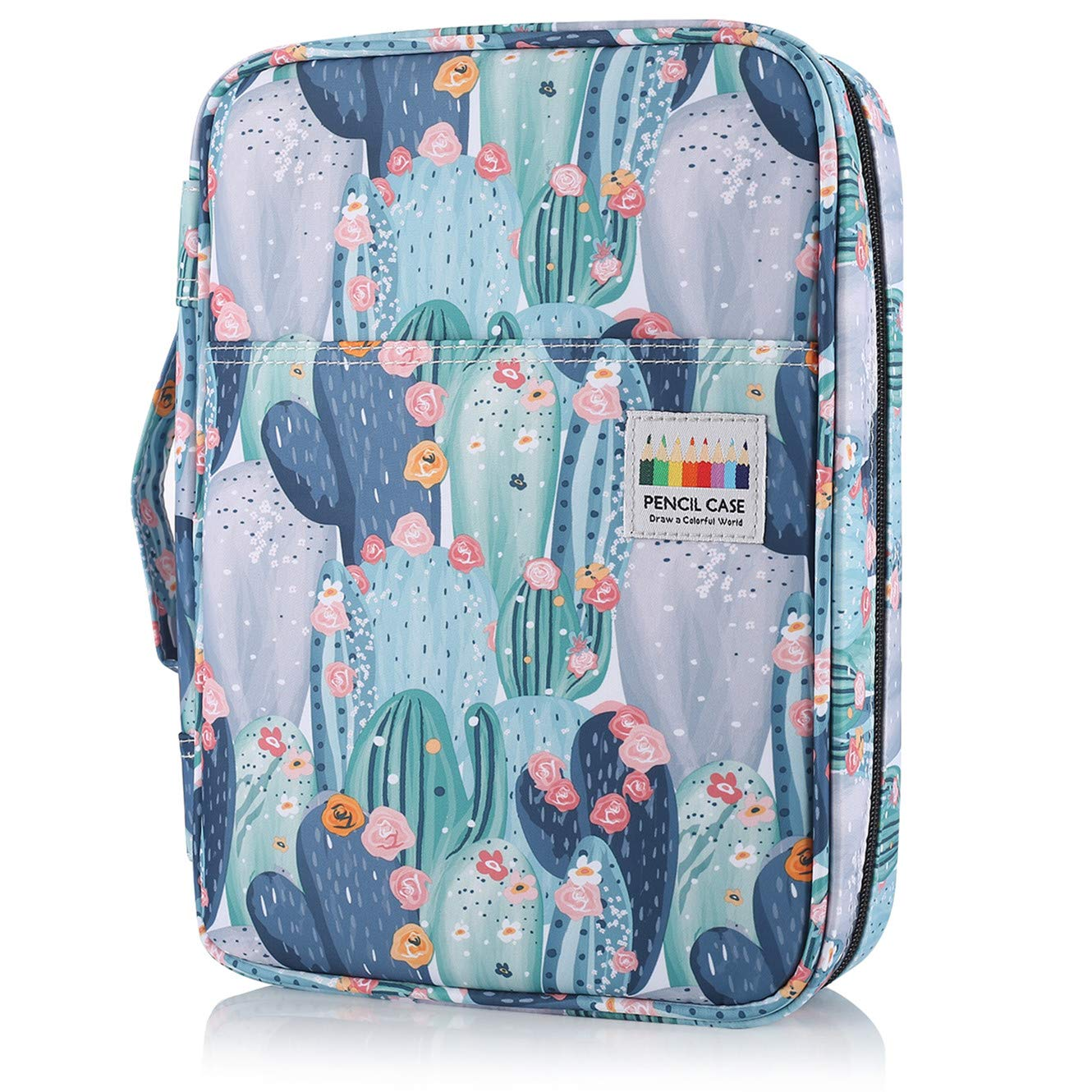 Shulaner Colored Pencil Case Slot Holds 220 Pencils or 144 Gel Pens with Zipper Closure Large Capacity Nylon Pen Organizer for Student or Artist