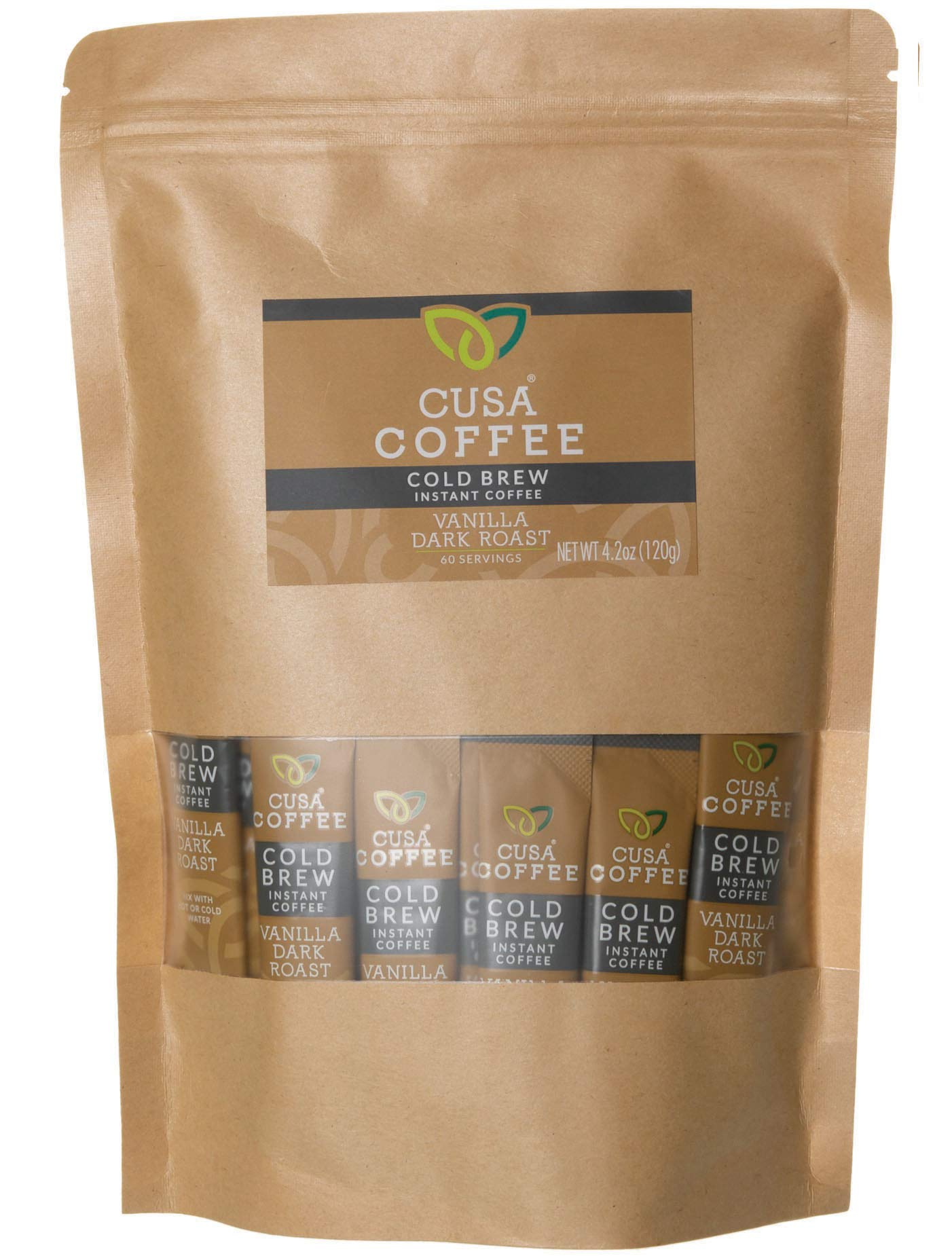 Cusa Coffee: Vanilla Dark Roast Cold Brew Instant Coffee - No Sugar or Preservatives - Ready in Seconds - Hot or Iced(60 Servings)
