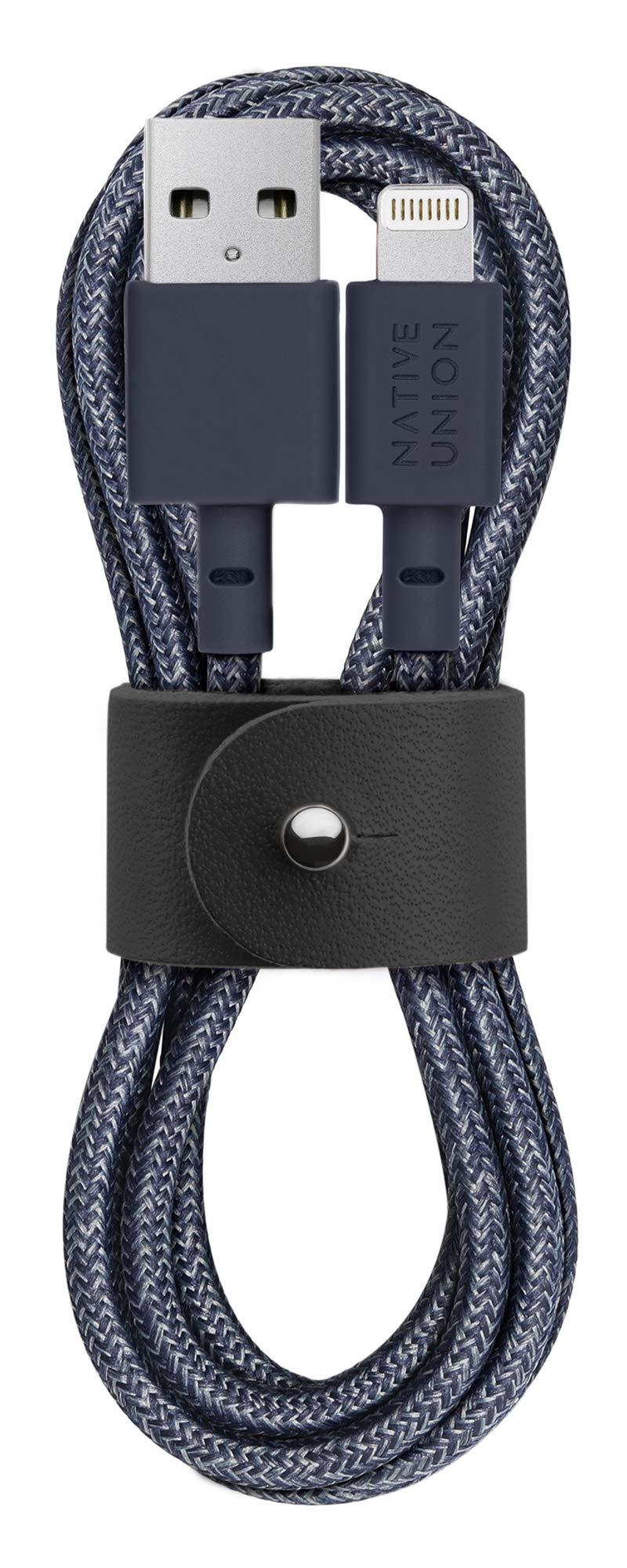 Native Union Belt Cable - 4ft Ultra-Strong Reinforced [Apple MFi Certified] Durable Lightning to USB Charging Cable with Leather Strap for iPhone/iPad (Indigo)