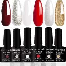 Senvenski Gel Nail Polish Red White Gold Glitter Soak Off UV LED Manicure Art Varnish Gift Set Kit Multicolour 6pcs (CS6-003)