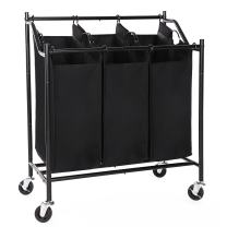 SONGMICS 3-Bag Laundry Sorter Cart, Heavy-Duty Sorting Hamper, with Casters and Brakes Black