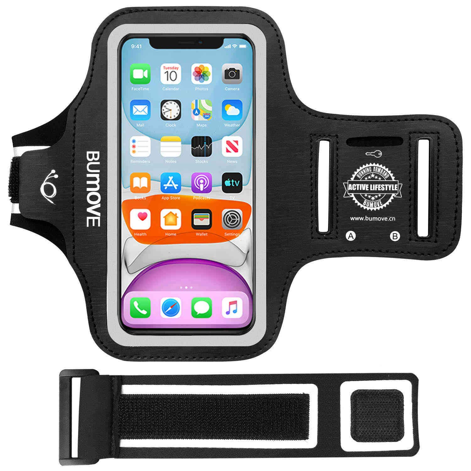 iPhone 11, XR Armband, BUMOVE Gym Running Workouts Sports Cell Phone Arm Band for iPhone 11/XR with Key/Card Holder (Black)