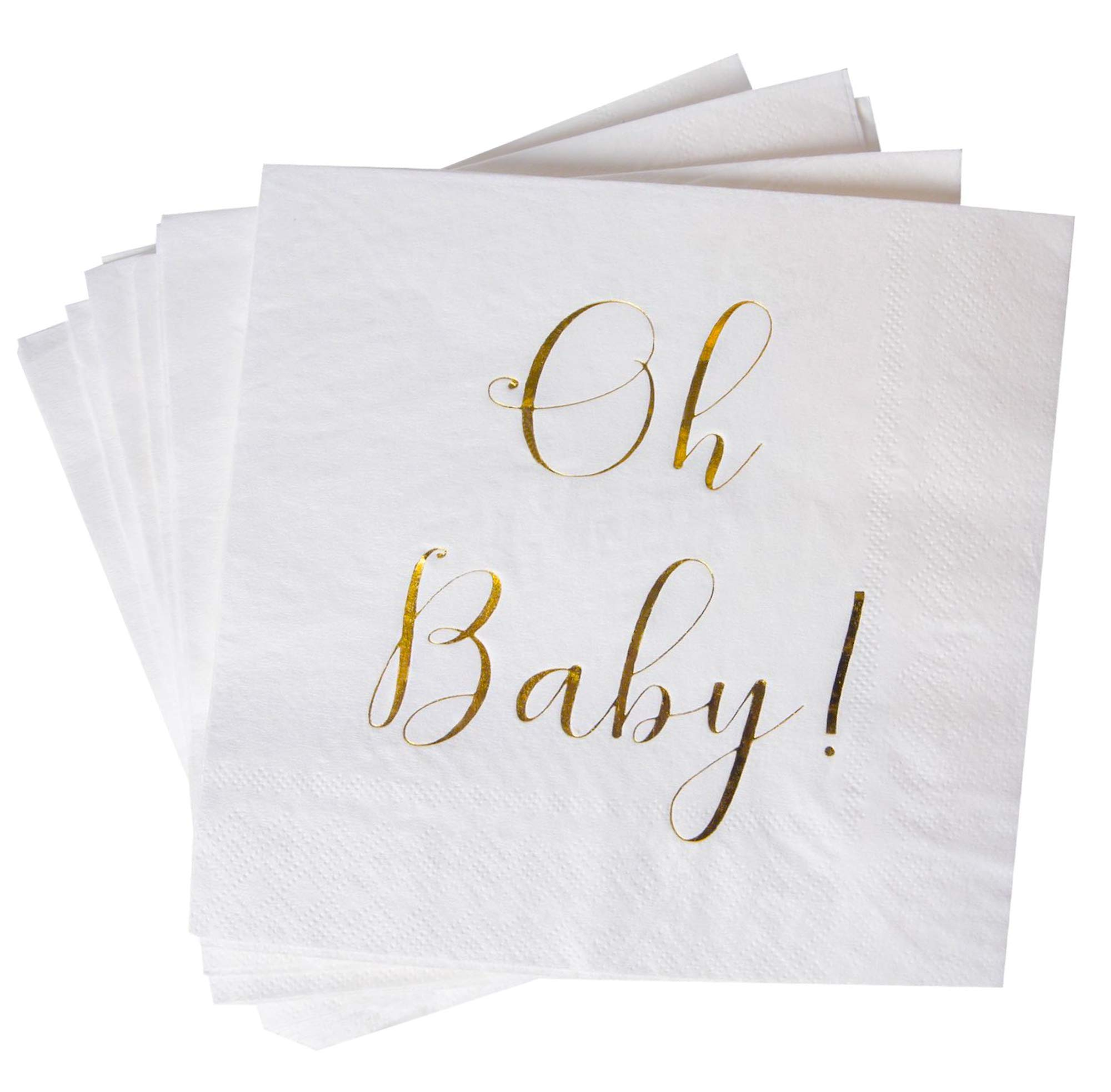 """Baby Shower Napkins - 100 Pack White Disposable Paper Cocktail Napkins with Gold Foil""""Oh Baby!"""" Folded 6.5""""x6.5"""" for Baby Shower Party"""
