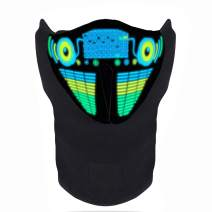 FEIYOLD LED Halloween Mask Sound Activated Light Up Mask Music Party Mask Cosplay Mask for DJ& Festival Party
