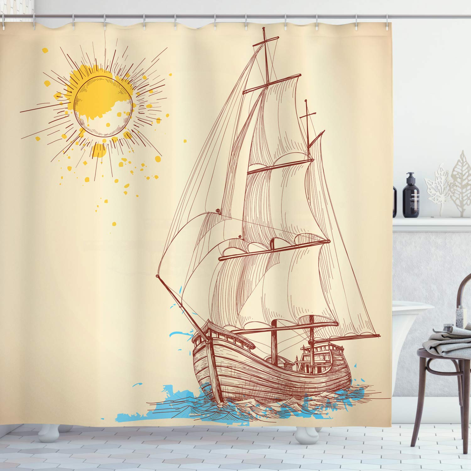 """Ambesonne Nautical Shower Curtain, Nautical Pattern of Sailing Boat in Windy Sea with Splashed Sun Cruising Galleon, Cloth Fabric Bathroom Decor Set with Hooks, 70"""" Long, Cream Redwood"""