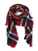 Women's Plaid Scarf, Cozy Winter Large Wrap, Oversized Thick Warm Soft Chunky Shaw Ideal for Fall and Winter