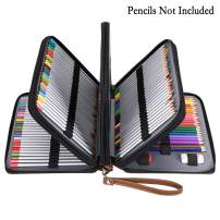 BTSKY 200 Slots Colored Pencil Organizer - Deluxe PU Leather Pencil Case Holder with Removal Handle Strap Pencil Box Large for Colored Pencils Watercolor Pencils Brown