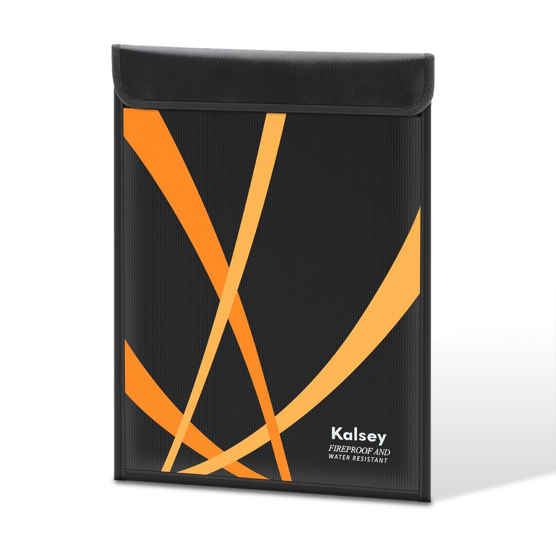 "Kalsey Fireproof Document Bags,Fireproof Document Bags(15x11"")Money Pouch Envelope Fireproof Folder Safe Bag"