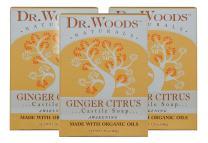 Dr. Woods Ginger Citrus Bar Soap with Jojoba Oil & Organic Shea Butter, 5.25 Ounce (Pack of 3)