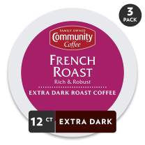 Community Coffee French Roast Extra Dark Single Serve 36 Ct Box, Compatible with Keurig 2.0 K Cup Brewers, Full Body Rich Robust Taste, 100% Arabica Coffee Beans