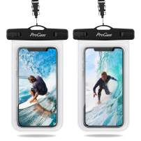"Procase Universal Waterproof Pouch IPX8 Waterproof Cellphone Dry Bag Underwater Case for iPhone 11 Pro Max Xs Max XR X 8 7 6S+ SE 2020, Galaxy S20 Ultra S10 S9 S8/Note10+ 9 8 up to 6.9"" -2 Pack, Clear"