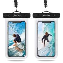 """Procase Universal Waterproof Pouch IPX8 Waterproof Cellphone Dry Bag Underwater Case for iPhone 11 Pro Max Xs Max XR X 8 7 6S+ SE 2020, Galaxy S20 Ultra S10 S9 S8/Note10+ 9 8 up to 6.9"""" -2 Pack, Clear"""