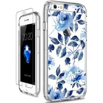 GiiKa iPhone 6 6s Case with Screen Protector, Clear Heavy Duty Protective Case Floral Girls Women Shockproof Hard PC Back Case with Slim TPU Bumper Cover Phone Case for iPhone 6s, Blue Flowers