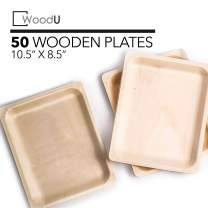 """Disposable Plates All Natural Biodegradable Birch Wood for Parties, Events (10.5"""" x 8.5"""" Dinner Plate)"""
