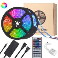 LED Strip Lights,YORMICK 10M Strips Lighting Kit IP65 Waterproof 300LEDs 5050 RGB 12V Power Adapter 44 Key IR Remote Control Color Changing LED Strip Light for Garden Bar Party Home Decorations