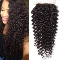 """9A Brazilian Virgin Hair Curly Wave Human Hair 4x4 Lace Closure Free Part Brazilian Human Hair Extensions Unprocessed Hairpieces for Wigs Natural Black (14"""" Lace Closure)"""