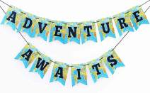Adventure awaits going away party Bon Voyage Banner Retirement party decorations Happy Retirement Banner Map Party Decorations World Awaits Graduation Party 300 GSM Quality Card stock banner