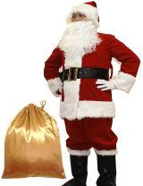 Potalay Men's Deluxe Santa Suit 10pc. Christmas Adult Santa Claus Costume