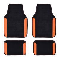 CAR PASS Rainbow Waterproof Universal Fit Car Floor Mats, Fit for Suvs,Vans,Sedans,Cars (Black with Orange)