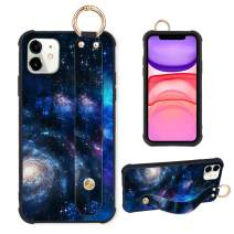 Compatible with iPhone 11 Case Blue Starry Sky Galaxy Wrist Strap Tire Four Corner Protective Shockproof Kickstand Back Cover for iPhone 11 6.1 Inch