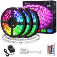 Olafus 50ft RGB LED Strip Lights Kit, Dimmable Color Changing Light Strips, Flexible LED Tape Lights with Remote, 24V 15m Strip with 450 LEDs 5050, Colored Strip Lighting for Party, Bedroom Decoration