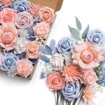 Ling's moment Blush Blue Artificial Flowers Combo for DIY Wedding Bouquets Centerpieces Arrangements Party Baby Shower Home Decorations