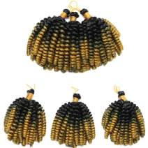 6 Inch Short Curly Jamaican Bounce Crochet Hair Synthetic Jumpy Wand Curl Braids Crochet Hairpiece Spring Twist Braiding Hair Extensions For Black Women (Black to Gold)